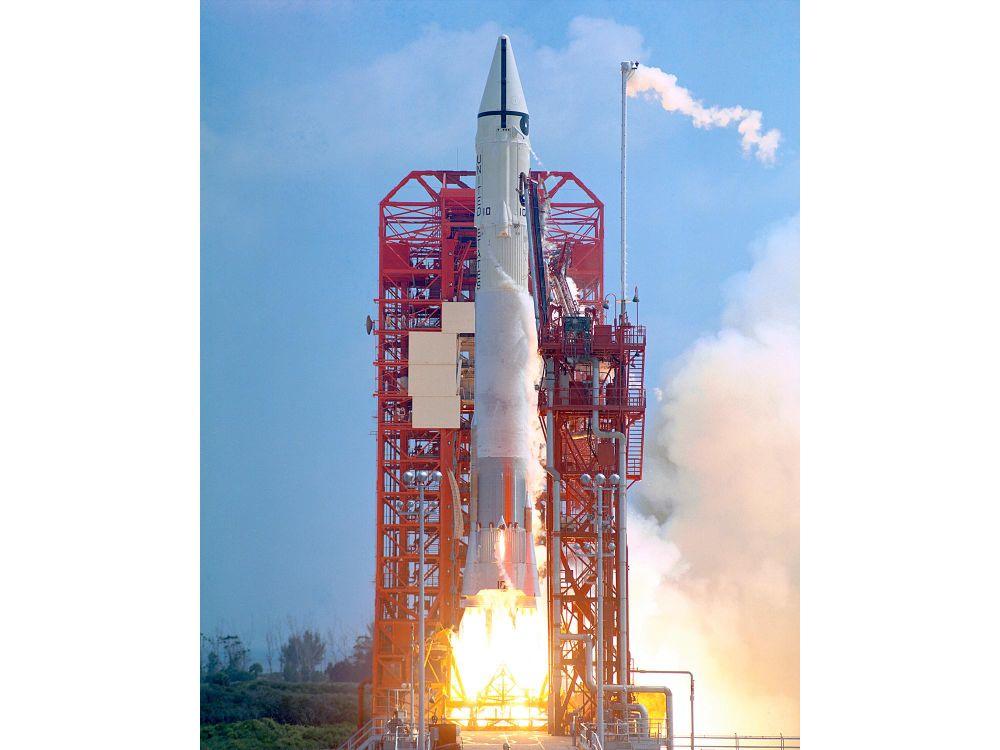 Photograph of a 1966 rocket launch