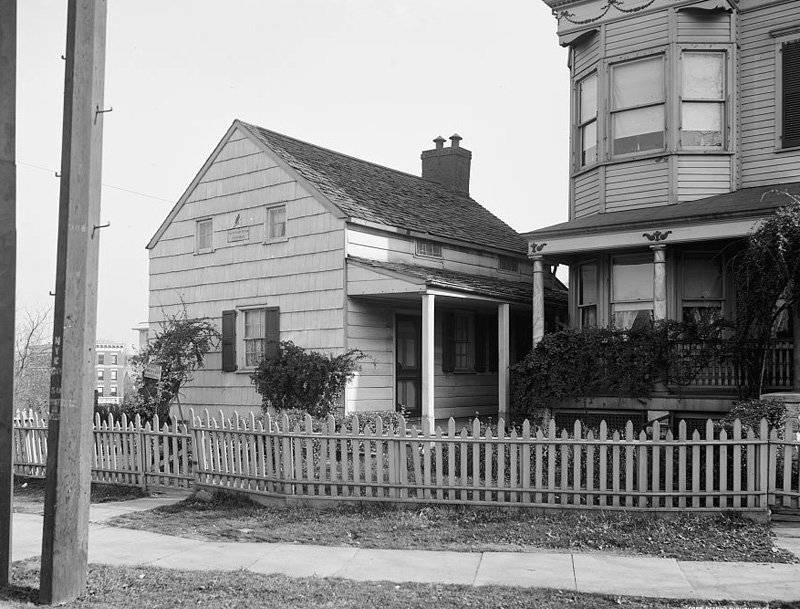 The cottage circa 1910, before it was moved to Poe Park (image: The Library of Congress)