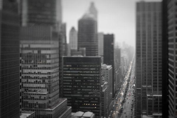 Park Avenue, New York City in the rain, with a tilt shift lens. thumbnail