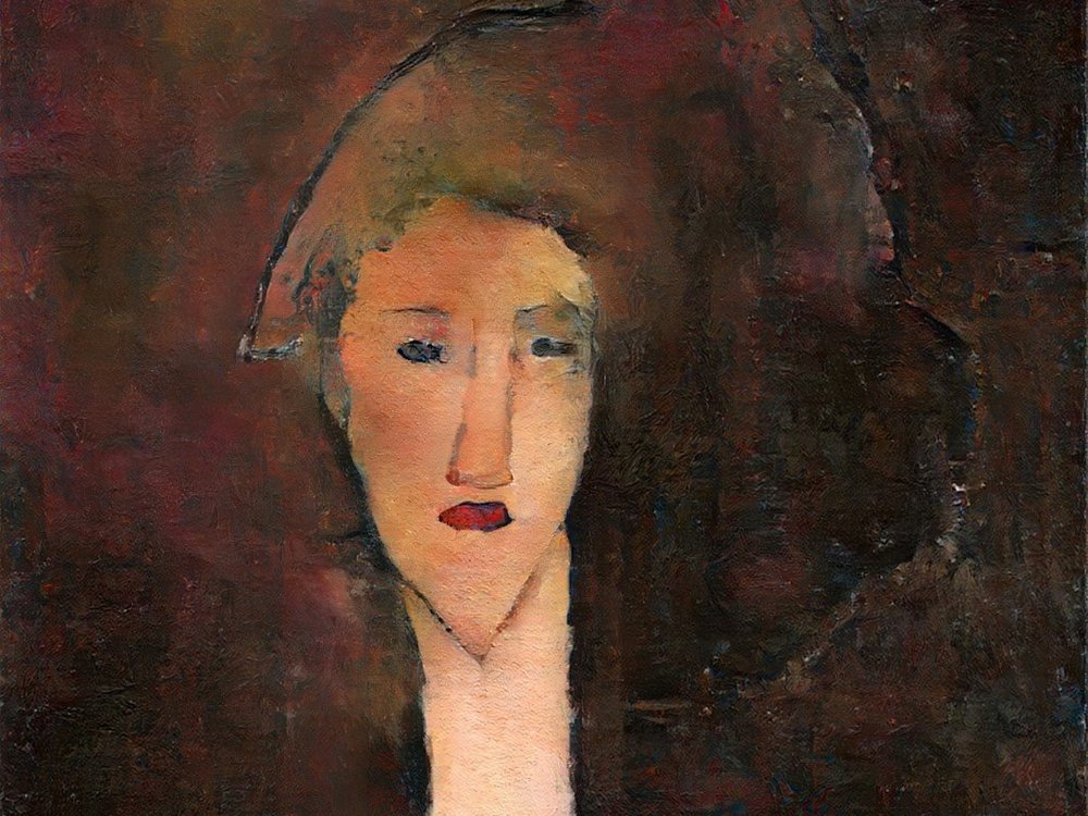 A painting of a pale woman with red lips, dark brown hair in front of a multicolored brown and red background