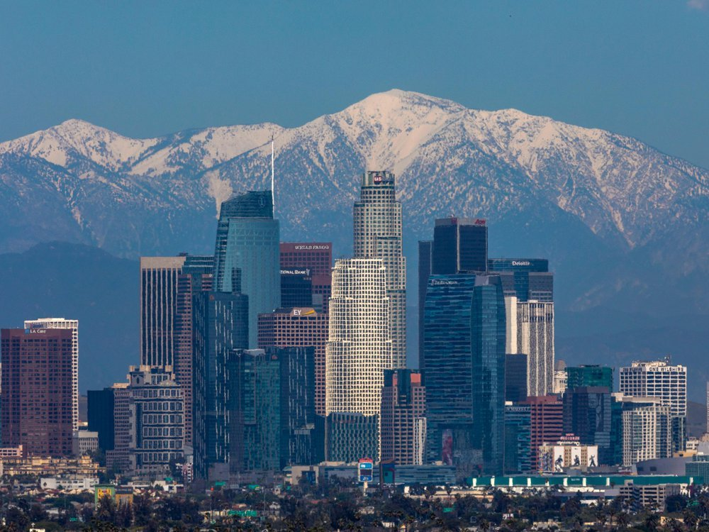 Reduced traffic in Los Angeles reveals a clear view of the San Gabriel Mountains beyond downtown.