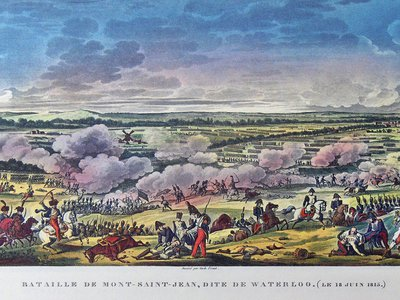 """""""Battle of Mont Saint-Jean or the Battle of Waterloo"""" by Antoine Charles Horace Vernet (1758 - 1836) and Jacques François Swebach (1769-1823)"""
