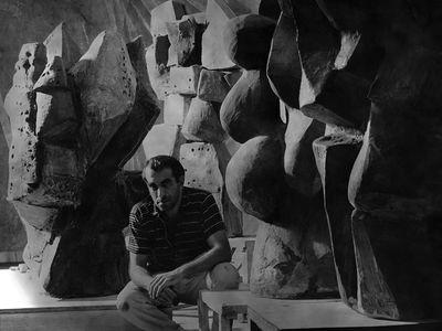 Peter Voulkos in his Glendale Boulevard Studio in Los Angeles California