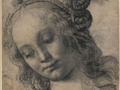 """Andrea del Verrocchio, """"Head of a Woman With Braided Hair,"""" c. 1475-1478"""