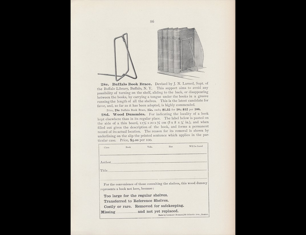 Trade catalog illustration of book brace bookends and books on shelf and shelf note card.