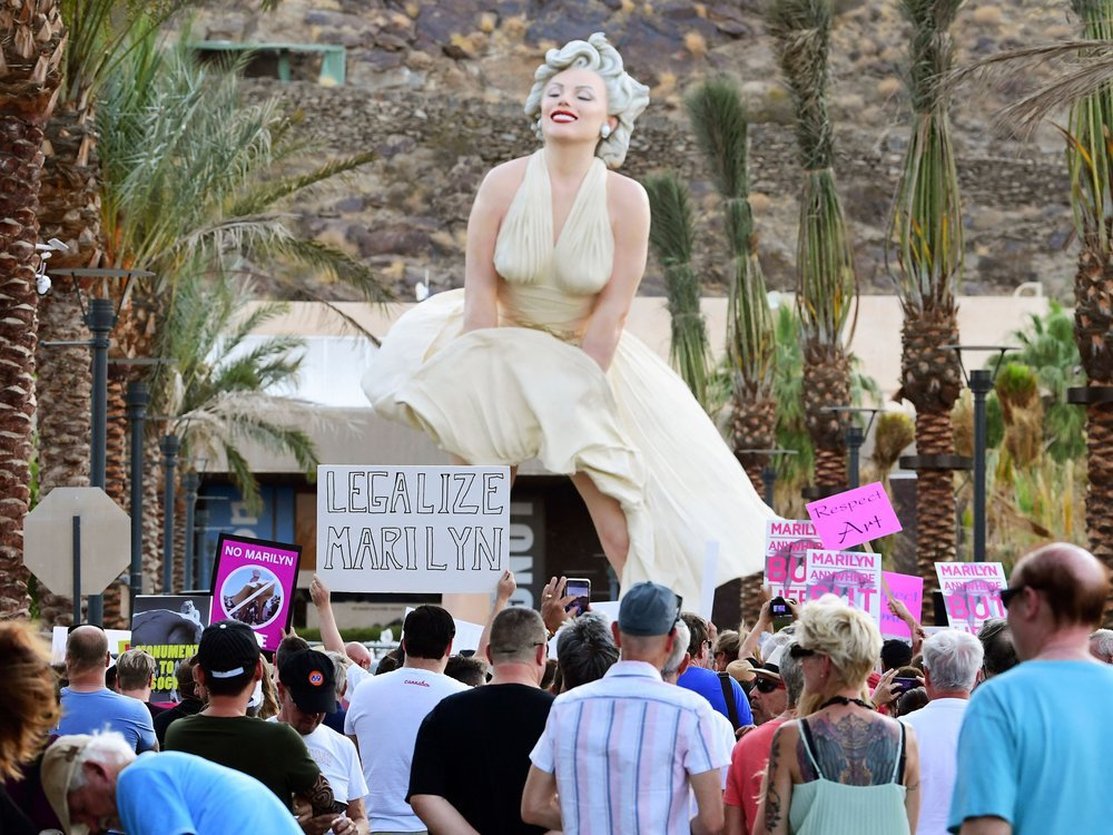 Protesters at Forever Marilyn unveiling