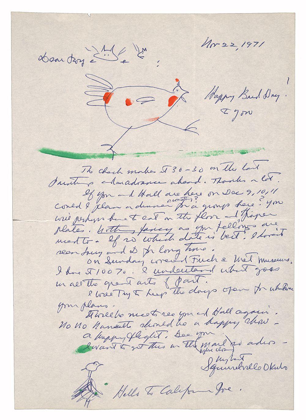 Illustrated letter sent to Roy Leeper by Mine Okubo on November 22, 1971
