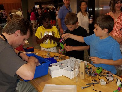 """""""We saw kids who created hands that had solid, non-moving opposable joints,"""" says Tim Pula (left) from the Smithsonian's Lemelson Center for the Study of Invention and Innovation ."""