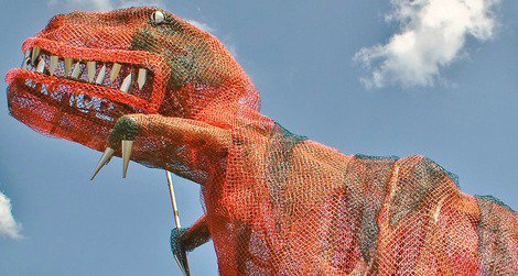 Recyclosaurus rex, seen outside the Museum of Science and Industry in Tampa, Florida.