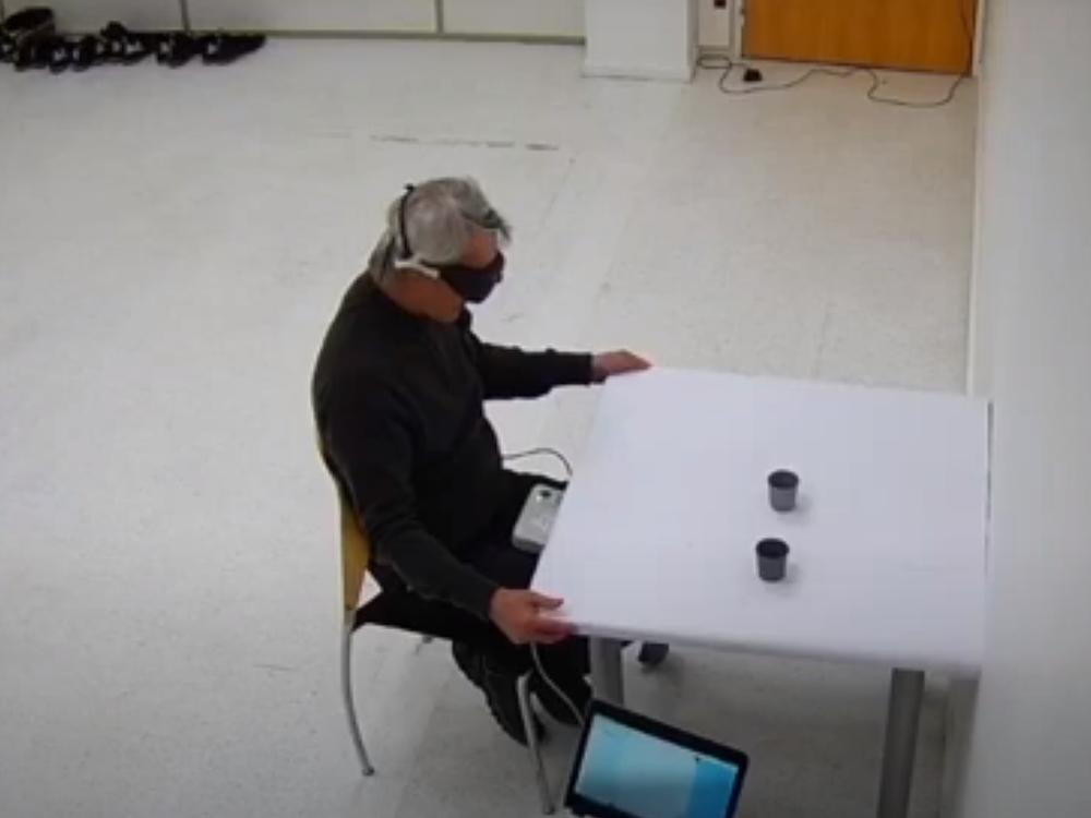 Blind man in lab test