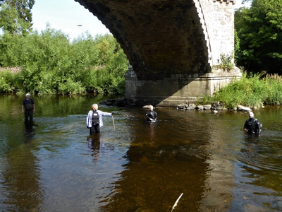 Researchers from ADHS, Historic Environment Scotland, Dendrochronicle and Wessex Archaeology examined the remains of the old bridge.