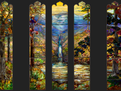 A close-up view of the Hartwell Memorial Window, a stained-glass panel likely designed by Agnes F. Northrop in 1917