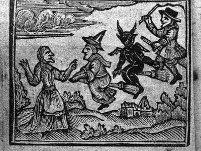 """A woodcut from a 1720 history of """"witches and wizards"""""""