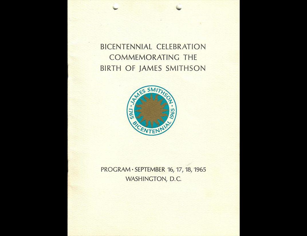 Program cover with Smithsonian sunburst logo in center.