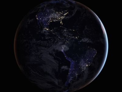 Earth sparkles by night.