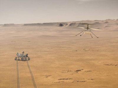 Artist's rendition of Ingenuity flying on Mars. (NASA/JPL-Caltech)