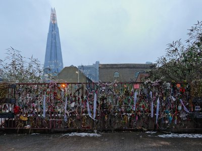 A shrine marking London's Cross Bones Graveyard.