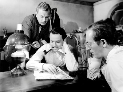 Joseph Cotten, Orson Welles and Everett Sloane in the offices of Kane's Inquirer.