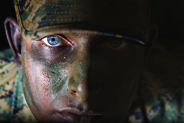 A United States Marine, in the dark. thumbnail