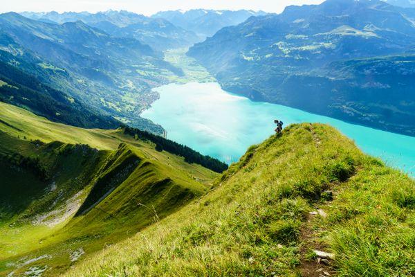"""Running the """"Hardergrat"""" ridge trail above Interlaken, Switzerland. thumbnail"""