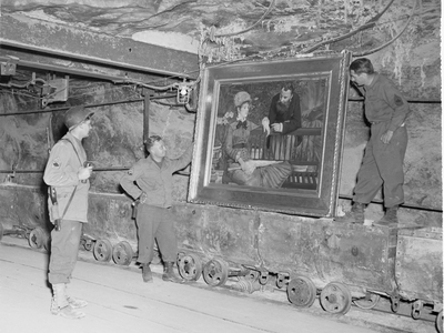 The U.S. Third Army discovers Édouard Manet's The Winter Garden in the salt mines at Merkers on April 25, 1945.