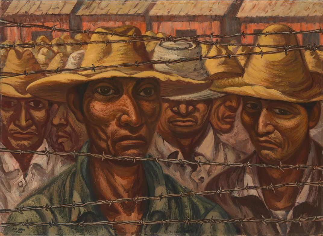 An oil painting of a group of Mexican men standing behind a barbed-wire fence.