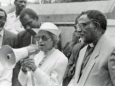 Rosa Parks addresses a crowd in 1989 on the 25th anniversary of the signing of the civil rights legislation.