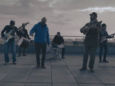 """Band members Yacine Belahcene Benet, Massinissa Aït-Ahmed, Gabriel Fletcher and Alexandre Guitart of """"Yacine and the Oriental Grove"""" incorporate North African and Mediterranean musical traditions, as well as genres such as reggae and rock and roll."""