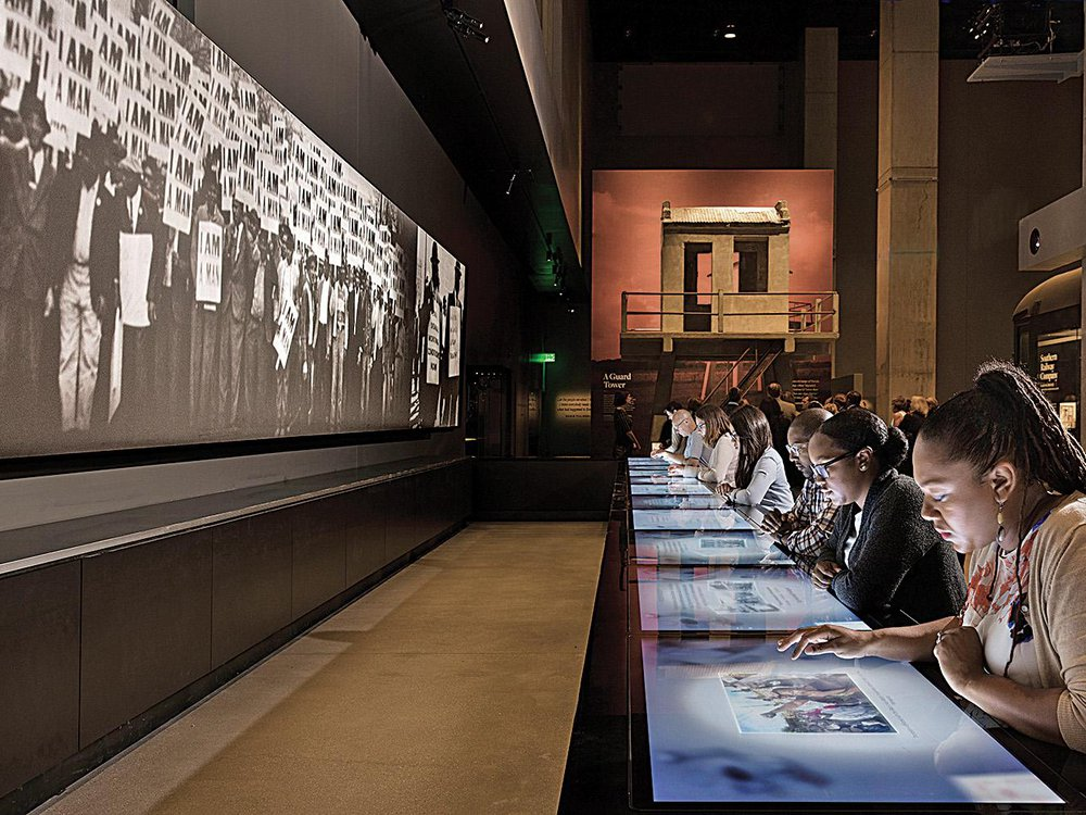 An interactive lunch counter at the African American History Museum