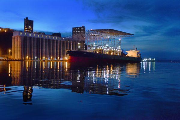 A huge ship loading grain at Tacoma's grain terminal. thumbnail