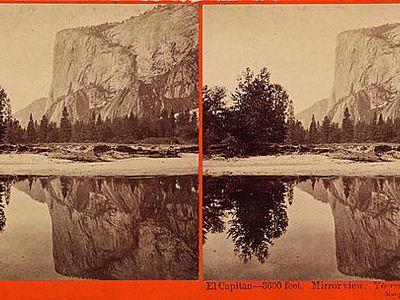 Carleton Watkins stereograph of El Capitan in Yosemite
