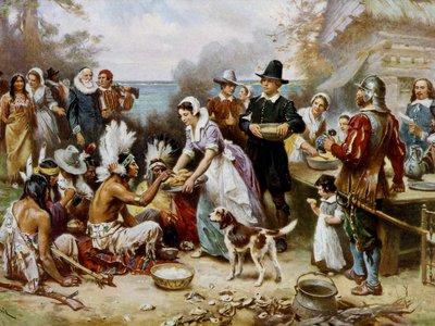 Thanksgiving tells the story of a landmark moment of coexistence, multiculturalism and even neighborliness (above: The First Thanksgiving, 1621, Jean Leon G. Ferris) when Native Americans taught Pilgrims to farm, and shared a meal with them after a successful harvest in 1621.