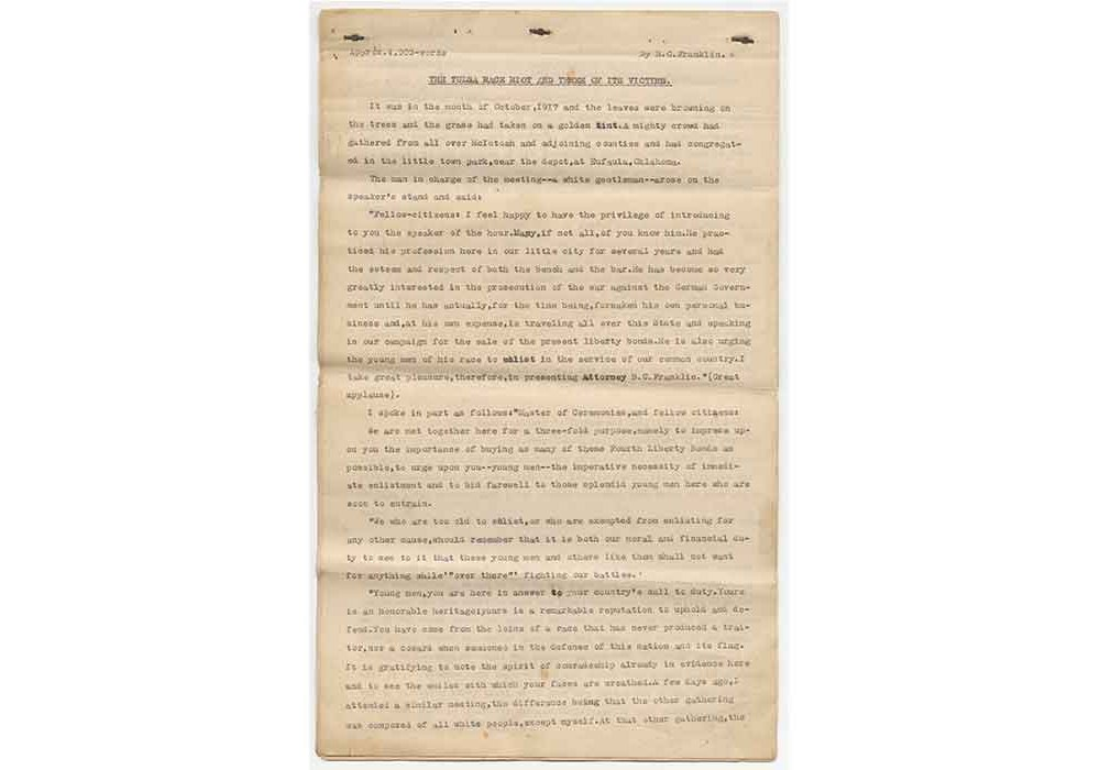 A yellowed sheet of paper with typewriter text, titled The Tulsa Race Riot by B.C. Franklin