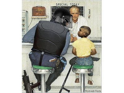 Illustrator Anthony Freda adapted Norman Rockwell's The Runaway to comment on police following this month's events in Ferguson, Missouri.