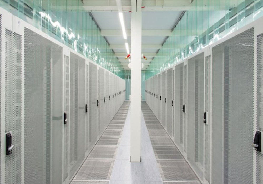 A row of servers, housed in an Iceland data center.