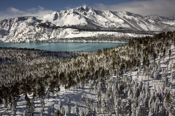 aerial view of fallen leaf lake and mount Tallac thumbnail
