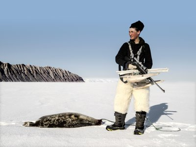 Qumangapik, age 16, hunts seals near Thule. Inuit were exempted from the 2010 European Union law banning  the trade of seal products.