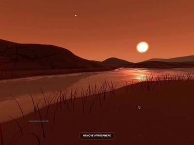 The imagined surface of Kepler-186f, an Earth-size planet orbiting a small red star.