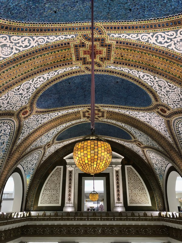 Louis Comfort Tiffany's dome ceiling at Macy's on State Street is best enjoyed up close. thumbnail