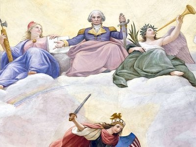 This detail of The Apotheosis of Washington, a fresco painted in the 19th century by Constantino Brumidi in the eye of the rotunda of the U.S. Capitol Building, depicts George Washington rising to the heavens, flanked by the Roman goddesses of liberty (left) and victory (right).