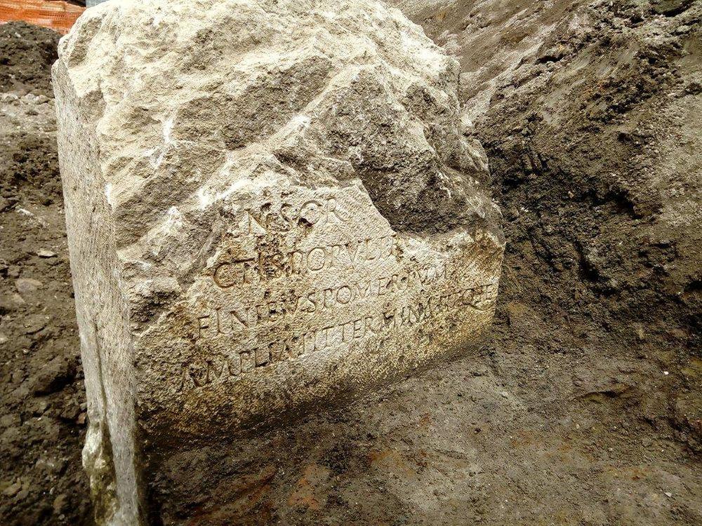 Boundary stone found in Rome, in situ