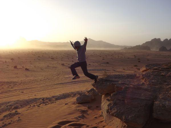 On the edge at the sun set spot in Wadi rum, Jordan thumbnail