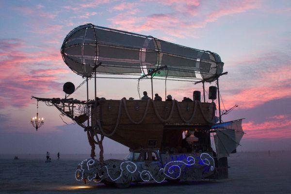 The oddest of ships float through the desert of Black Rock City thumbnail
