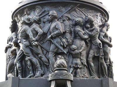Looking at the east frieze of the Confederate Monument at Arlington National Cemtery in Arlington, Virginia, in the United States