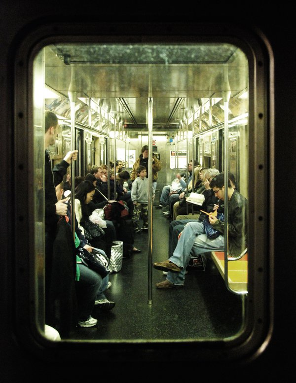Silence and solitude on the late night, Bronx bound train subway. thumbnail