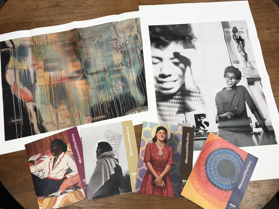 A photograph of six different artworks.
