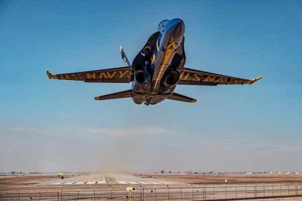 Heads up! Blue Angel 6 performs a low takeoff in El Centro. thumbnail