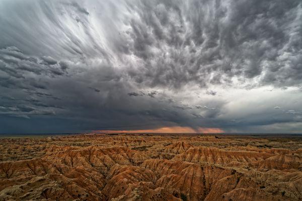 Badlands sunset storm thumbnail