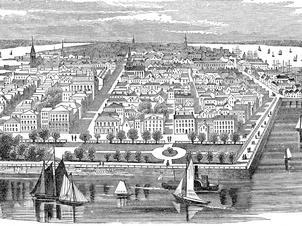 Charleston, South Carolina, was founded in 1670 and is the state's oldest city. The drawing depicts it in 1860.