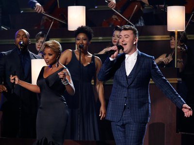 History in the making: Sam Smith performs with Mary J. Blige, one of his main influences.